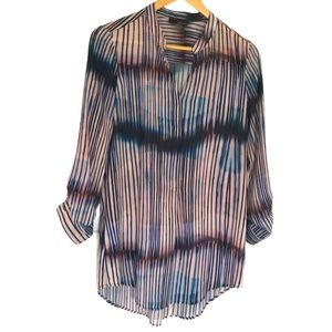 Renuar blue and pink striped blouse S